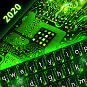 Green Light Cyber Circuit Wallpaper and Keyboard-SocialPeta